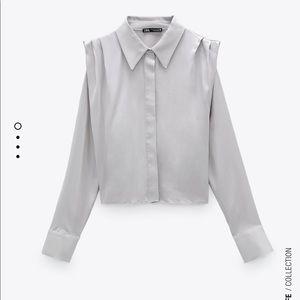 Zara satin effect shirt in light gray